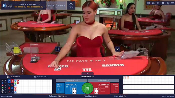 دیلر خارجی میز بازی باکارات در کازینو زنده ایزوگی سایت BTL90